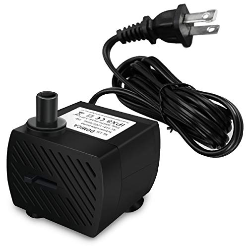 DOMICA Mini Submersible Water Pump (4W 80GPH) for Pond, Aquariums, Fish Tank, Tabletop Fountain, Pet Fountain, Indoor or Outdoor Fountain