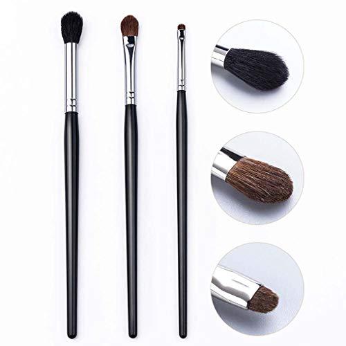 3 brosses de maquillage de cheveux de cheval, outils féminins de maquillage, brosse d'ombre d'oeil, brosse de sourcil, appropriés au maquillage quotidien etc.