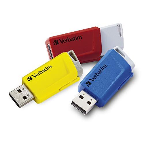 VERBATIM Store \'n\' Click USB-Stick 3x I USB 3.2 Gen 1 I 16GB I Speicherstick mit Verriegelungsmechanismus I USB-3 I externer Speicher für Laptop Notebook & Co I bis 5 Gbit/s I rot blau gelb