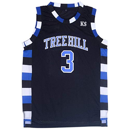TUEIKGU Mens Lucas Scott 3 Ravens Basketball Jersey Stitched Sports Movie Jersey Black (Medium)