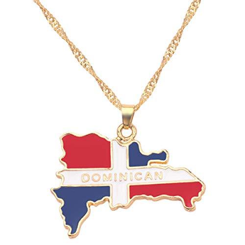 TFOOD Kaart Ketting Voor Vrouwen, Dominicaanse Vlag Kaart Hanger Gouden Ketting Bedel Patriottische Etnische Sieraden Voor Moeder Mannen Gift Accessoires