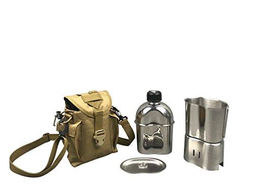Jolmo Lander US Militär komplettes Kochset Edelstahl US Feldflasche Set,mit Feldflasche1.2L,Becher 0.8L, Kocher,Hülle (Coyote tan)