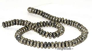8X4MM Iron Pyrite Intrusion Gemstone Black Gold RONDELLE HEISHI Loose Beads 16