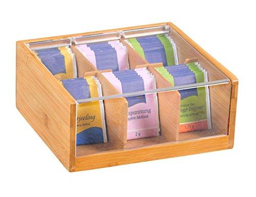 Kesper–Caja de té, bambú, marrón, 22x 21x 9.5cm