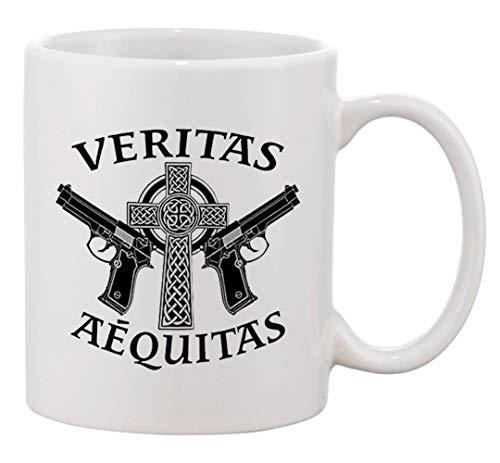 Ceramic Coffee Mug - Aequitas Veritas Saints Gun Celtic Cross