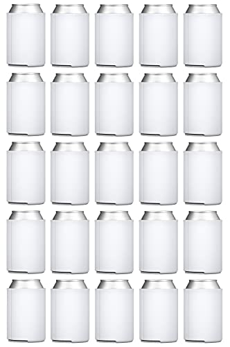 TahoeBay Blank Beer Can Coolers (25-Pack) Plain Bulk Collapsible Foam Soda Cover Coolies, Personalized Sublimation Sleeves for Weddings, Bachelorette Parties, HTV Projects (White)