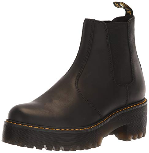 Dr. Martens Women's Rometty Fashion Boot, Black Burnished Wyoming, 8