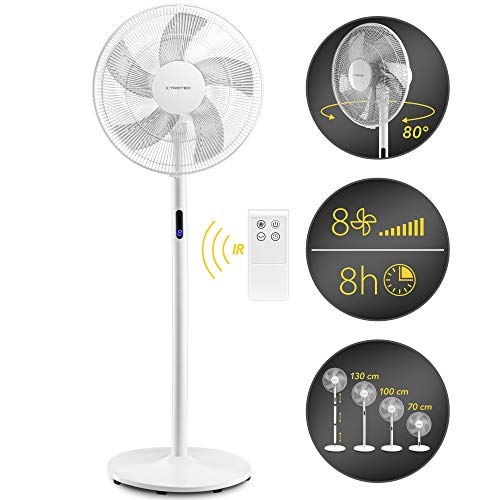 TROTEC TVE 24 S Design-Standventilator 8 Geschwindigkeitsstufen 80°-Oszillation 48 Watt Leistung IR-Fernbedienung Timer höhenverstellbar