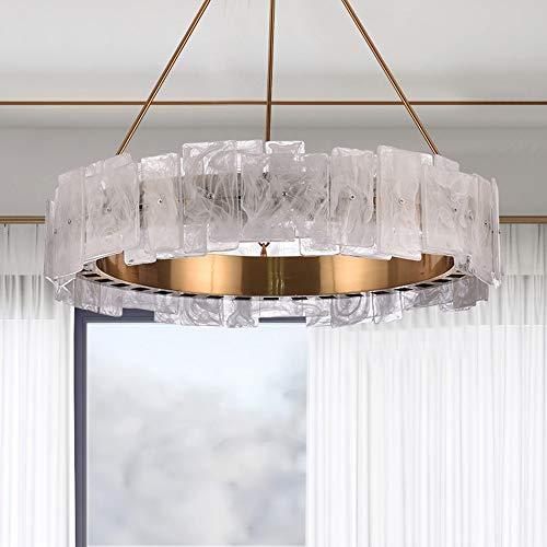 Z.L.FFLZ Araña de Luces Bronce Alabastro de la lámpara del Arte del Hierro Caliente de la lámpara LED de luz nórdica Sala Comedor Diámetro 60cm Colgante de luz