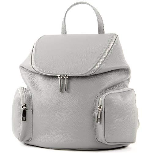 modamoda de - T175 - ital Damen Rucksack Tasche aus Leder, Farbe:Telegrau