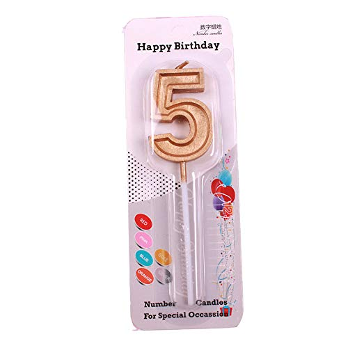 QQYL Gold Cake Candle Happy 1st 2nd 4th 18th 21st 25th 30th 40th 50th 85th 95th Happy Birthday Cake Topper Number Cake Candles Birthday Candles Decorating Kit Cake Banner Pop Sticks (Gold, 5)