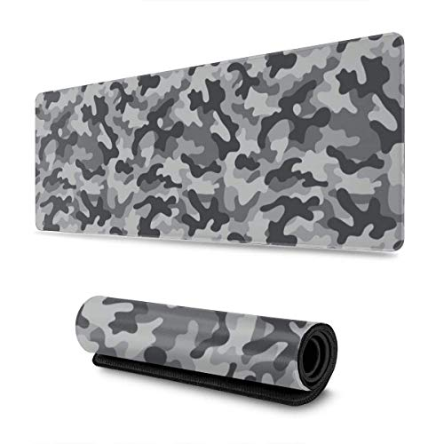 GamingMouse Pad Grey Camouflage Design Pattern XXL XL Large Gaming Mouse Pad Mat Long Extended Mousepad Desk Pad Non-Slip Rubber Mice Pads Stitched Edges (31.5x11.8x0.12 Inch)