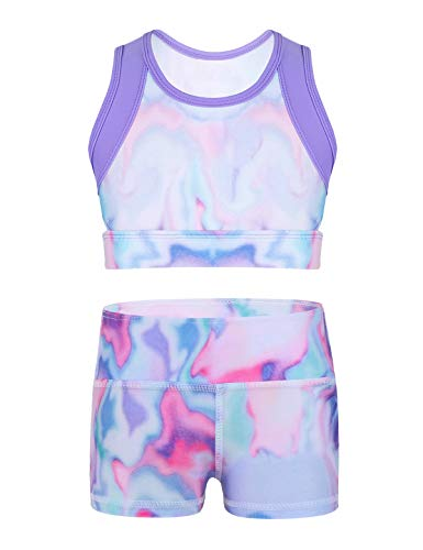 FEESHOW Girls 2 Piece Gymnastic Dance Sports Bra Crop Top with Shorts Outfit Set for Athletic Leotard Dancing Swimming (6-7, Lavender Tie-Dye)