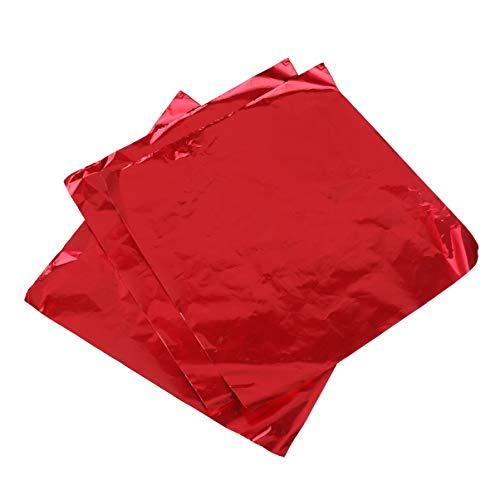 STOBOK 100 Stück Alufolie Bonbonverpackungen Zuckerpapier für DIY-Bonbons Und Schokoladenverpackungen Rot