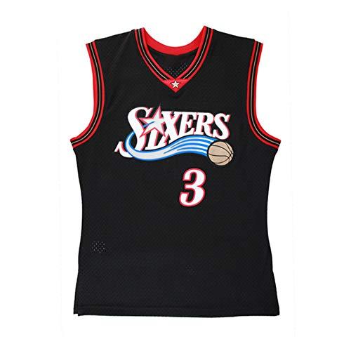 Iverson 3# Sixers - Maglietta da basket, in rete, traspirante, stile retrò, senza maniche (S-XXL)...