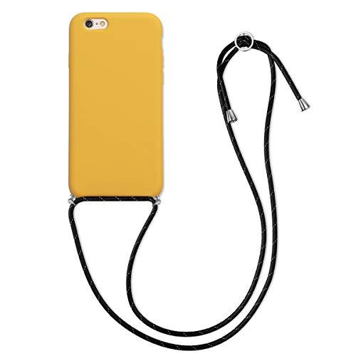 kwmobile Funda con Cuerda Compatible con Apple iPhone 6 / 6S - Carcasa de Silicona con Colgante - en Amarillo Miel