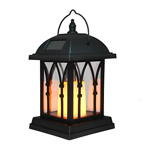 GloBrite Solar Candle Lantern Light - Outdoor Hanging Garden Lights Lamp for Patio, Outside or Table