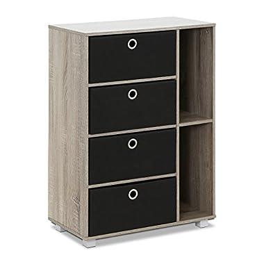 Furinno Multipurpose Storage Cabinet, French Oak Grey/Black