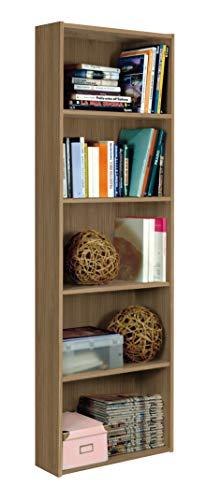 InHouse srls Libreria Moderna in Legno, 5 Vani, Noce, 55x21 175H.