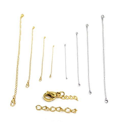 Dancepandas 8 Stück Verlängerungskette Halskette Extender Kettchen Edelstahl für Schmuckherstellung Kette Armband DIY