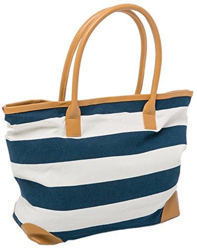 AIREE FAIREE Strandtasche Damen Schultertasche Shopper 46 X 32 CMS Sommer Tasche Nautische Streifen Blau