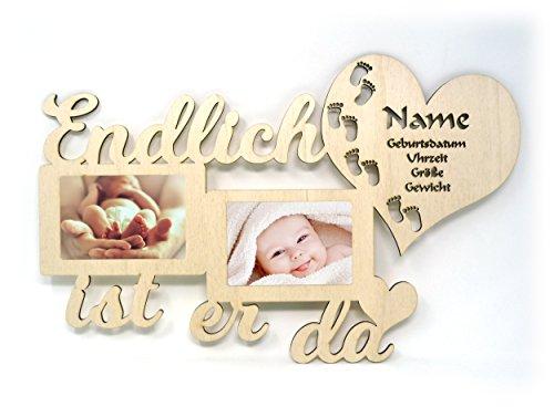 Baby Wand Bilderrahmen mit Namen und Geburtsdaten Endlich ist er I sie da Geschenke zur Geburt Geschenke für das Babyzimmer erstes Jahr Babygeschenke für Junge und Mädchen (Junge)