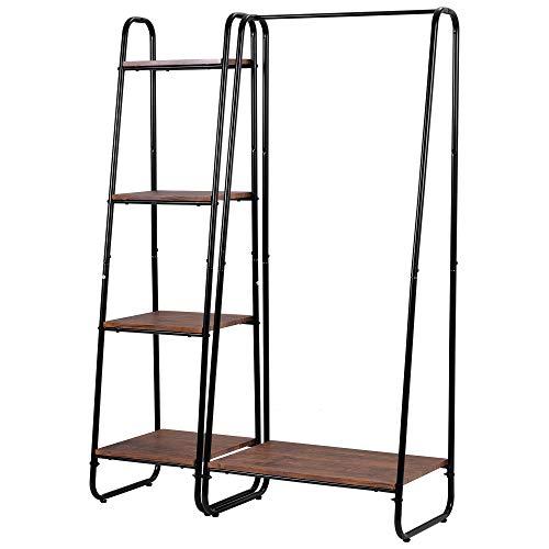 belupai Perchero de metal resistente con estante para zapatos, armario de almacenamiento de 4 niveles, para escalera, estantería de madera, estilo vintage