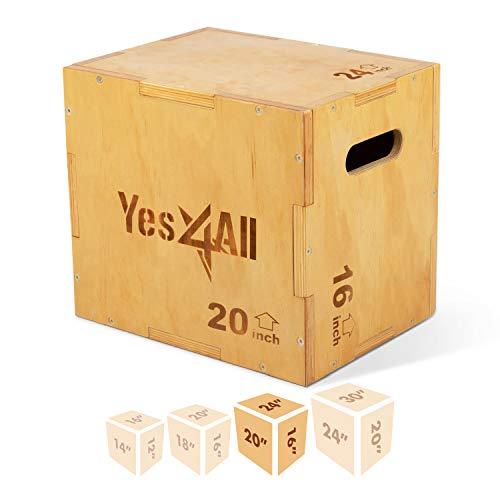 Yes4All Wood Plyo Box/Wooden Plyo Box for Exercise, Crossfit Training, MMA, Plyometric Agility – 3 in 1 Plyo Box/Plyo Jump Box (24/20/16) (X4AH), C-Light Wood Color, 24x20x16 inch