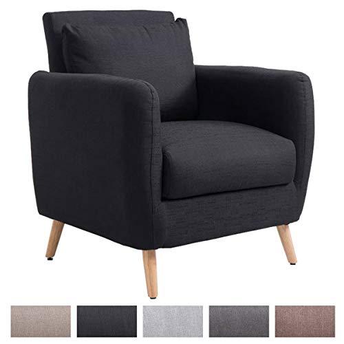 Polstersessel TILGARD mit Armlehnen und Stoffbezug I Belastbarer Loungesessel mit Holzbeinen, Farbe:schwarz