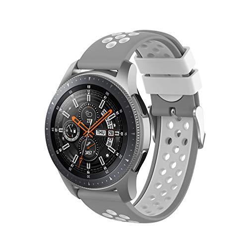 PINHEN - Correas de reloj de 46 mm, 22 mm, transpirables, de silicona suave, universal, de repuesto para Gear S3 Frontier/ Galaxy Watch SM-R800 (46 mm)/Classic Smart Watch (gris-blanco)