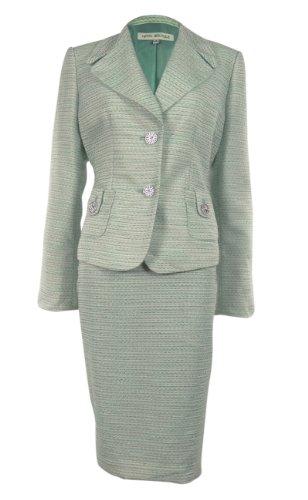 Women's Metallic Fabric Jewel Button Business Suit Skirt Set (24W, Aqua)