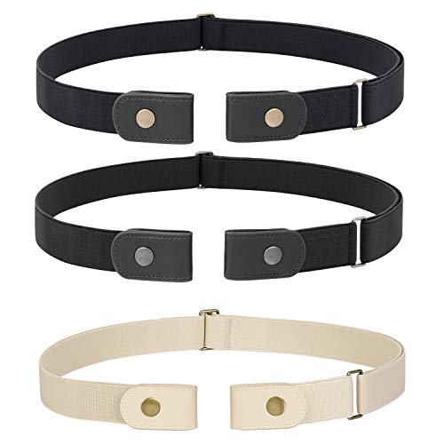 3 Pieces No Buckle Stretch Women Belt for Jeans Pants, WHIPPY Buckle-less Invisible Elastic Belts (Black Beige, Fit Pants Size 32-48 Inches)