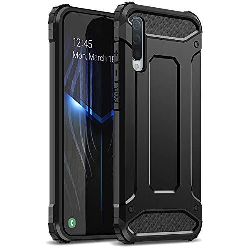 WE LOVE CASE Kompatibel mit Samsung Galaxy A50 Hülle Stoßfest Handyhülle Armor Serie PC+Silikon Dünn Doppelschichter Bumper Schutz Schutzhülle für Samsung Galaxy A50 Schwarz