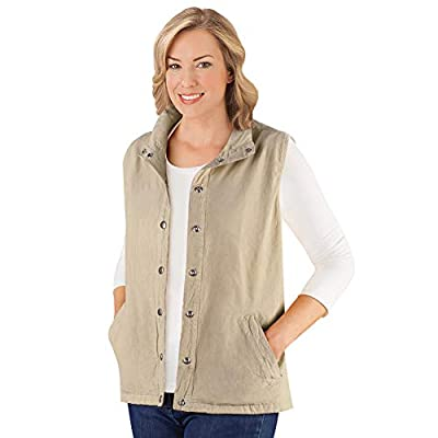 Women's Snap Front and Cinch Back Sleeveless Vest with Front Slant Pockets - Flattering Layering Piece for Outfit, Khaki, X-Large from Winston Brands