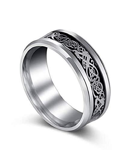 Lzz Silver Dragon Beveled Edge Celtic Dragon Titanium Stainless Steel Men's Wedding Ring Size 7-12 (US Code 9)