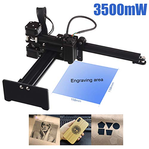 Laser Engraver 3500mW Portable Laser Engraving Machine Mini Carver Desktop Laser Engraver for DIY Laser Marking Art Craft Logo Mark Printer with Protective Glasses,Working Area 150x150mm
