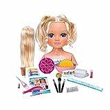 Nancy - Un día de Secretos de Belleza Rubia, busto de muñeca con el pelo largo para peinar y maquillar, con accesorios de belleza como peines, brochas, pestañas postizas o pegatinas FAMOSA (700014860)