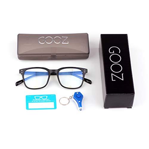 GOOZ Blaulichtfilter Brille Computer-Brille Blockieren von UV-Kopfschmerz und Augenbelastung,Gaming Brillen für PC, Handy und Fernseher Anti-Müdigkeit, Anti-Blaulicht, UV-Schutz Unisex (Black Square)