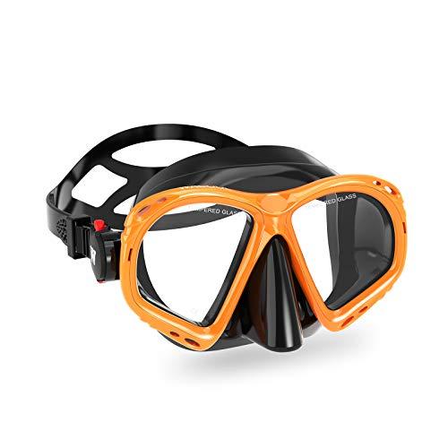 WACOOL Adults Snorkeling Diving Scuba Swim Swimming Mask for Anti-Fog Coated Glass Diving Anti-Splash (Adult,Orange)