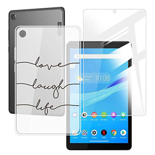 HHUAN Tablet Case + Screen Protector for Lenovo Tab M8 TB-8505F / TB-8505X 8 inches,Semi-Transparent Flexible Silicone Gel TPU Protective Shell Bumper Case Cover - Love Symbol