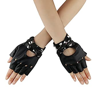Women Punk Rock Half Finger Gothic Gloves Cosplay Costume Rivets Studded Biker Driving Leather Fingerless Gloves Black