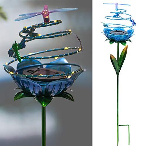 decorative garden stakes Solar Garden Stake Dragonfly Waterproof 20 LED Spiral Metal Decorative Outdoor Garden Lights for Courtyard Patio Walkway Decor