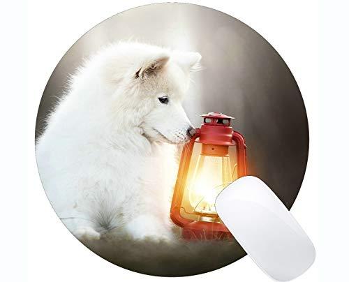 Tappetini per Mouse Rotondo con Tappetino per Mouse, Cane Samoiedo per Cani Lanterna con Animali - Bordi cuciti