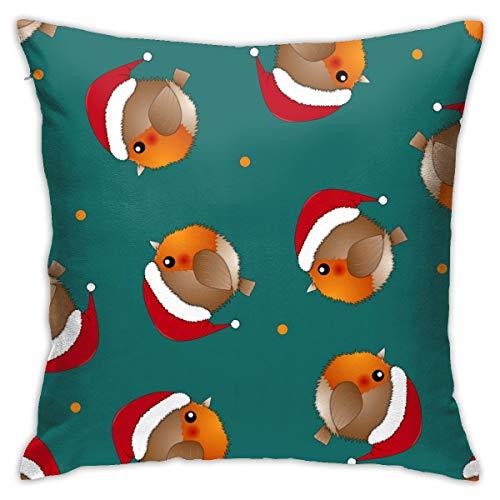 Doormats-shirt Garden Art Deco Pillow Case Red Robin Bird Santa Claus On Green Background Sofa floor cushion cover 18x18 inches