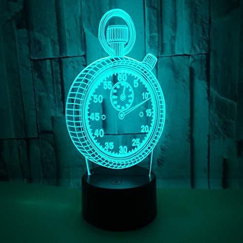 YWYU 3D Nachtlicht LED Illusion Lampe 7 Farben Allmählich wechselndes virtuelles Licht USB Touch Schalter Acryl Wecker Tischlampe Fernbedienung für Jungen Mädchen Spielzeug Geschenke