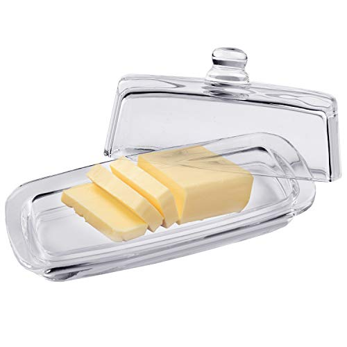 Bezrat Glass Butter Dish | Premium Butter Dish with Lid and Easy Grip Handle | Easy to Use and 100% Food Safe - Dishwasher Safe | Classic Addition