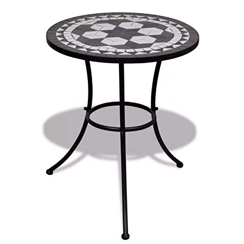 Garten-Mosaik-Esstisch, kleiner runder Beistelltisch, witterungsbeständig, Mosaik-Bistrotisch, pulverbeschichtetes Eisengestell, Keramik-Tischplatte, 60 x 70 cm, schwarz und weiß