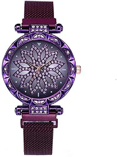JZDH Mano Reloj Reloj de Moda Reloj de Moda Mujeres de Lujo Rosa Oro Flor de Damas Vestido de muñeca Reloj de muñeca imán Malla de Acero Reloj Mujeres Relojes Decorativos Casuales (Color : Morado)