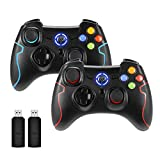 REDSTORM Mando PC, 2 Paquetes Mando Inalámbrico, Gamepad Controlador USB para PS3 / Android/Windows...