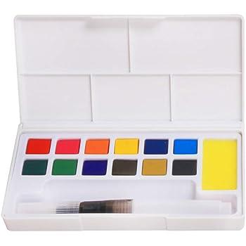 Pigmento sólido, portátil sólido acuarela pigmento Set de pintura – con una paleta separada y dos pincel de pintura de agua – para dibujo artístico – 12/18/24/36 colores Tamaño libre 12 Colors: Amazon.es: Hogar